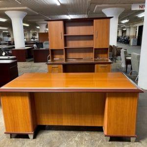 Contemporary Desk with Credenza & Hutch