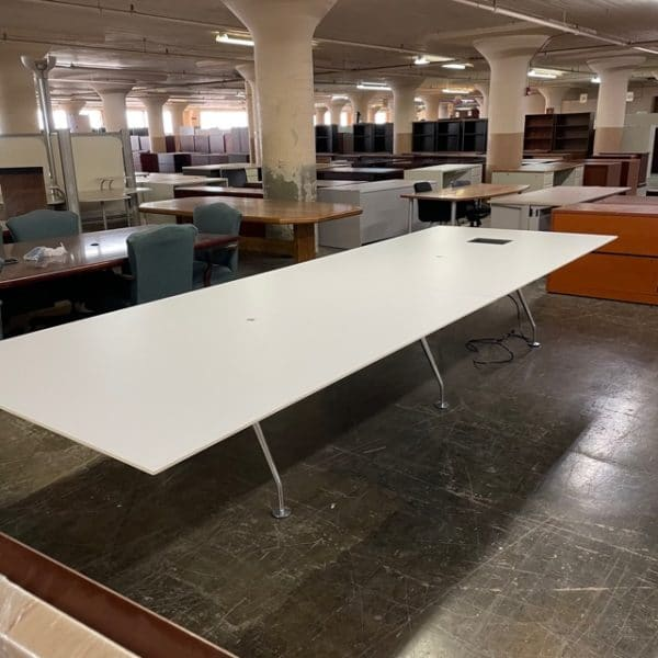 13' White Conference Table